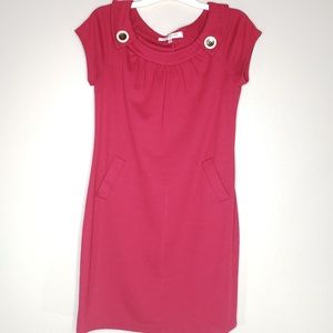 Evan Picone Red Short Sleeve Dress With Pockets